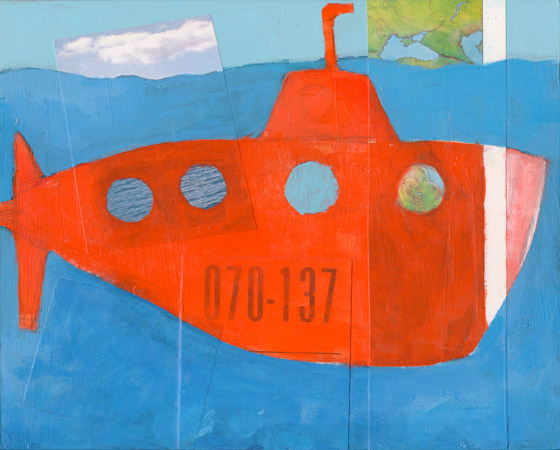 orange submarine, painting by laurie breen